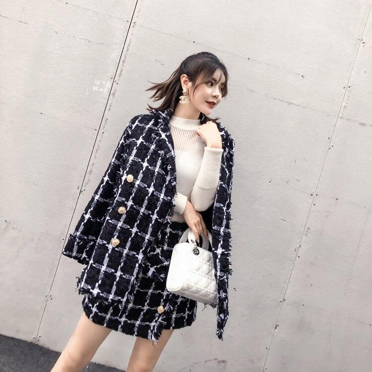 Larga Cuadros Conjuntos Traje Manga Las Mujeres Unidades Mini Diseñador De 2 Moda Otoño A Pista Abrigo Tweed 2018 Calidad Alta Falda 6Xgqx4w7x