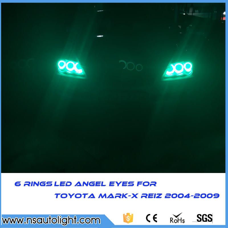 3014 SMD 6 rings white LED angel eyes halo ring kit daytiem running light DRL For Toyota Mark X Mark-X REIZ 2004-2009 led rings white 3014 smd led angel eyes headlight halo ring marker 131mm 145mm for bmw e46 non projector