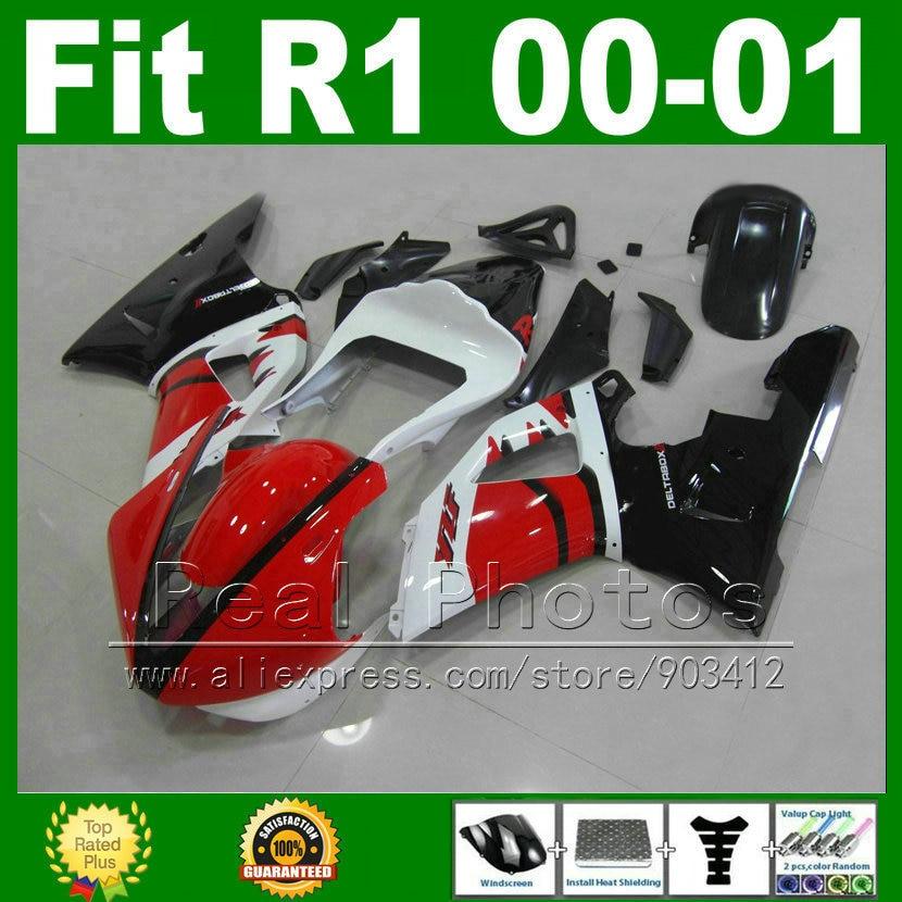 Гоночная версия Обтекатели Fit для Yamaha YZF R1 2000 2001 красный белый комплекты RACE тело YZFR1 00 01 обтекатель кузова Комплект части y2u6