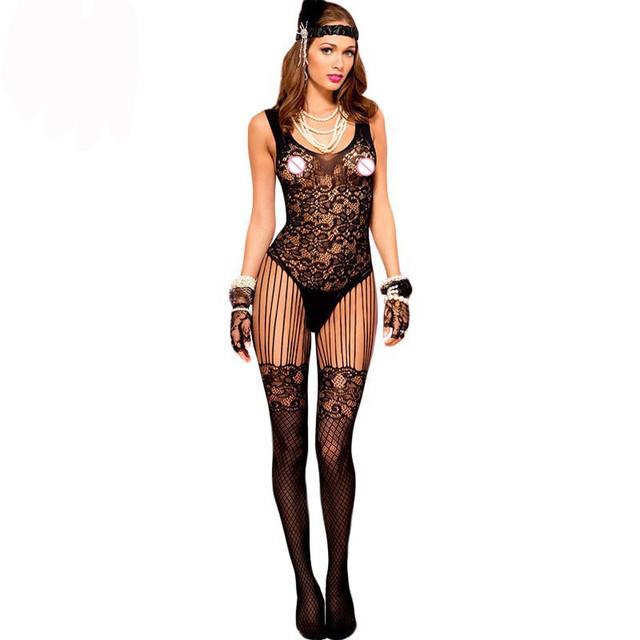 2017 Nueva Sexy Intimates lencería erótica de Encaje Correa de Espagueti y Mallas Floral de Encaje Transparente Bodystocking LC79698