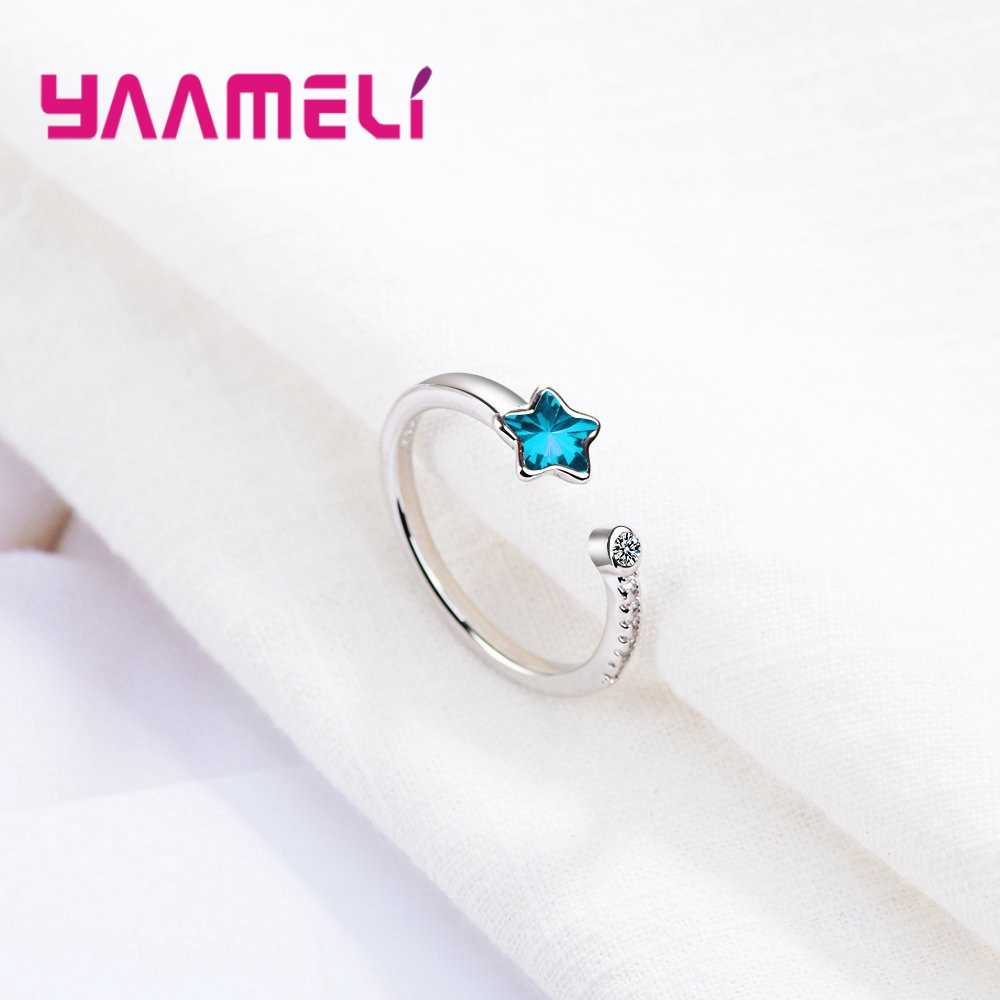 Новый модный чистого серебра 925 пробы серебристая сверкающая Звезда кубический циркон открыто кольцо Ювелирные изделия из кристаллов для Для женщин и девочек