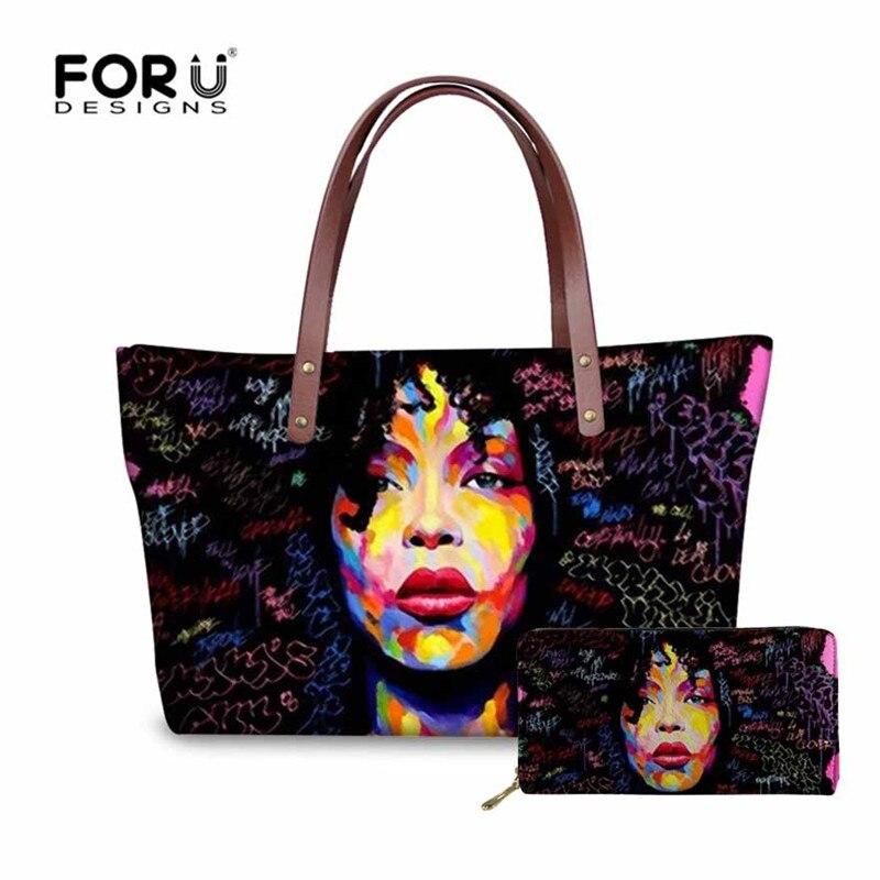 dbb9d2bda FORUDESIGNS Preto Arte Afro Lady Meninas Impresso Mulheres Bolsa & bolsa  Saco Ocasional Grande saco Das