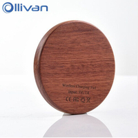 Wholesale Qi Charger Wooden Nature Portable Wireless Charger Fast Charge For Samsung Galaxy S8 S7 Note