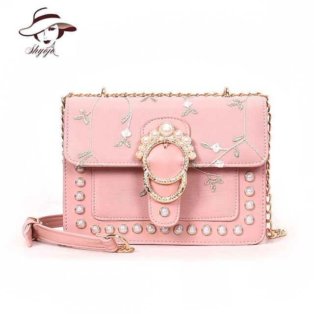 Lady Fashion Mini Flap Women Shoulder Bag Flower Embroidery Pearl Girls  Messenger Handbags High Quality Crossbody
