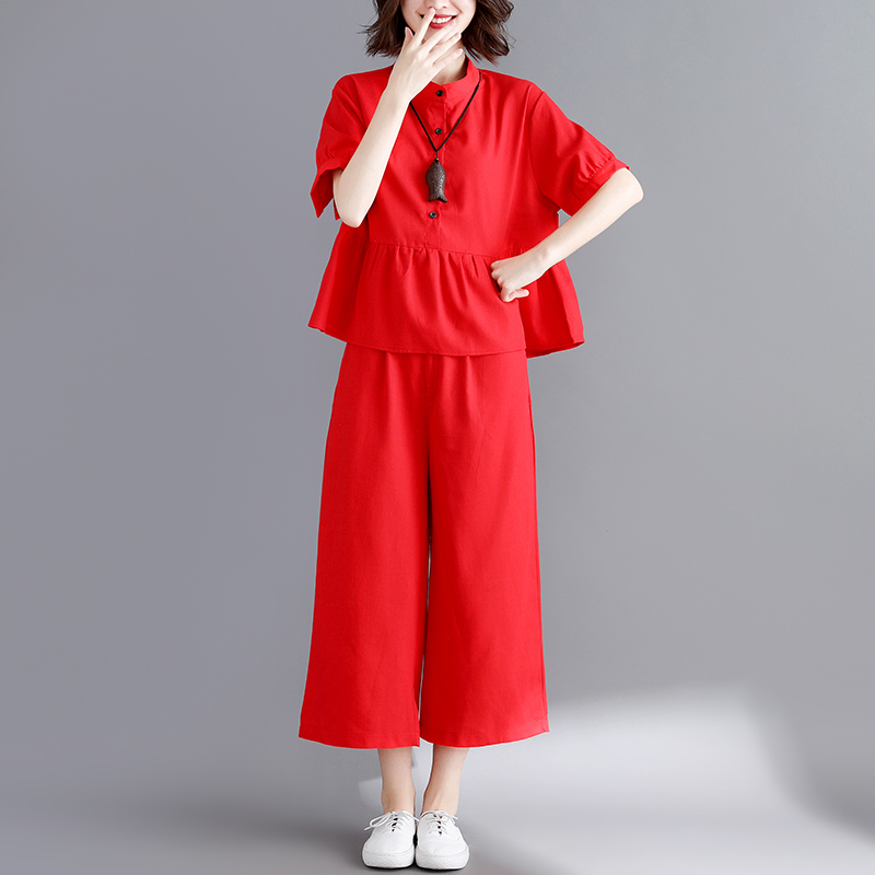 0828 White Red Stand Collar Shirt Short Sleeves Split Joint Ruffles Top And Wide Leg Pants Casual 2 Piece Outfits For Women in Women 39 s Sets from Women 39 s Clothing