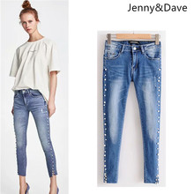 e98628bde75 Jenny Dave jeans woman ankle-length pants button fly mid skinny pencil pants  beading pearls high