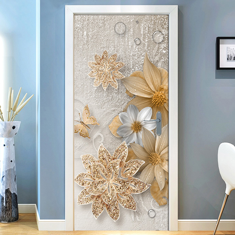 3D Luxury Golden Jewelry Flowers Butterfly Living Room 3D Door Stickers Wall Painting Wallpaper PVC Waterproof Door stickers giraffe 3d wall stickers living room decoration