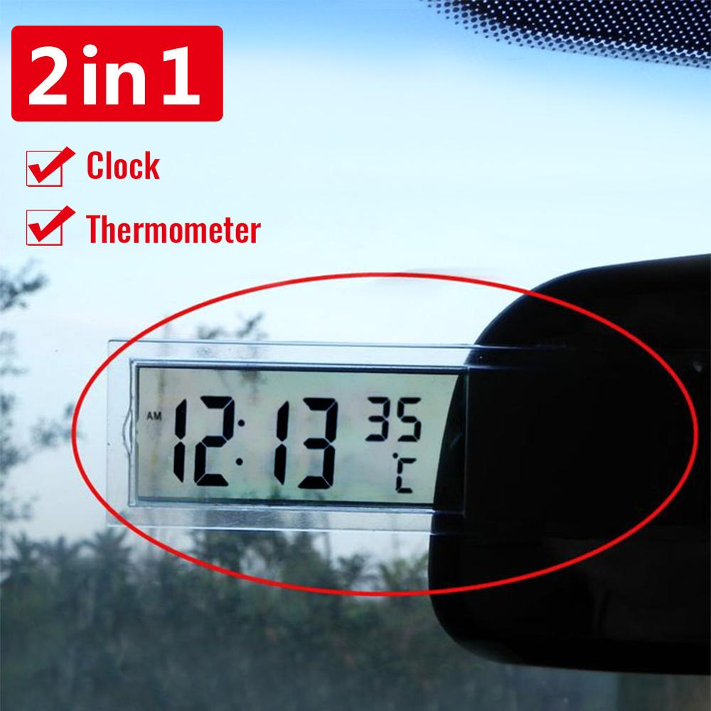 New Hot Sale 2 In 1 Automobile Car Clock Thermometer Sucker Type Clock Thermometer Transparent LCD Digital Watch 10 Button Cell
