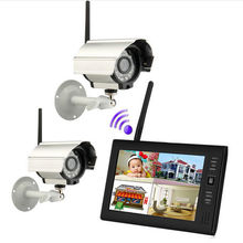 YobangSecurity 7″ TFT LCD DVR Monitor 2.4GHz Digital Wireless 4CH CCTV DVR Security Camera Surveillance System (2 Cameras kit)