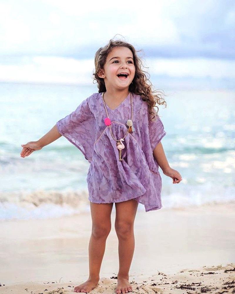 cute kid baby girl cover ups beachwear lace princess floral beach