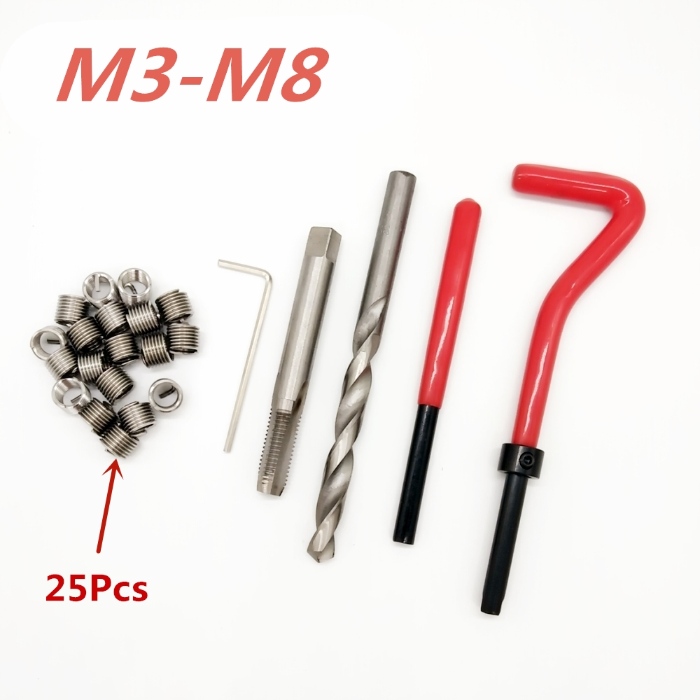 25 Pcs Auto Engine Block Restoring Damaged Thread Repair Tool Kit M3/M4/ M5/ M6/M7/M8 Free Shipping