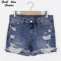 Plus Size 50'S Vintage Ripped Hole Fringe Blue Denim Shorts 4Xl 5Xl Xl Women Casual Pocket Jeans 2017 Summer Girl Hot Shorts