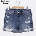 Plus Size 50'S Vintage Ripped Hole Fringe Blue Denim Shorts 4Xl 5Xl Xl Women Casual Pocket Jeans 2017 Summer Girl Hot Shorts