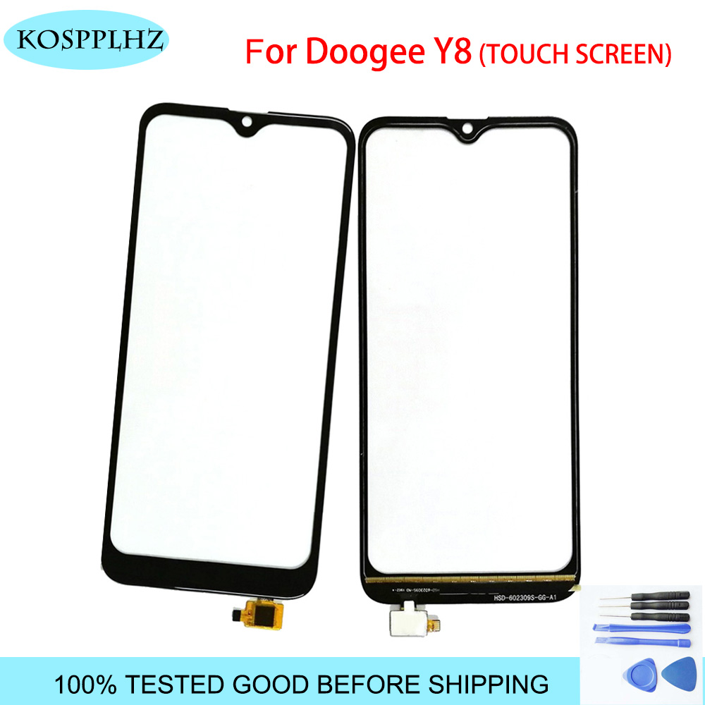 KOSPPLHZ 6.1 Inch Doogee Y8 Touch Screen Glass 100% Guarantee New Glass Panel Touch Screen Y 8 + Tools