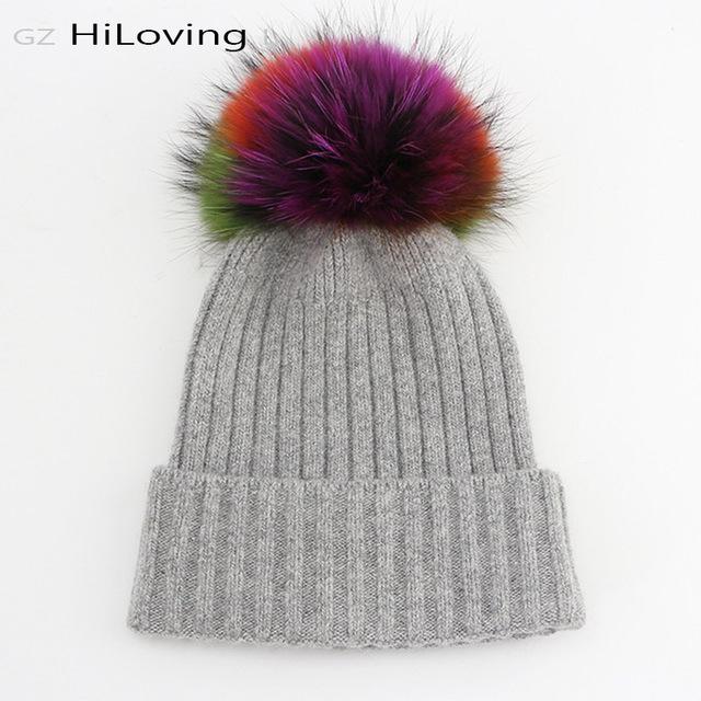 2016 Único Inverno 100% de Lã Mulheres Malha Beanie Hat Com Big Guaxinim de pele Colorido Pom pom Preto Skullies Beanie Chapéus Para Mulheres