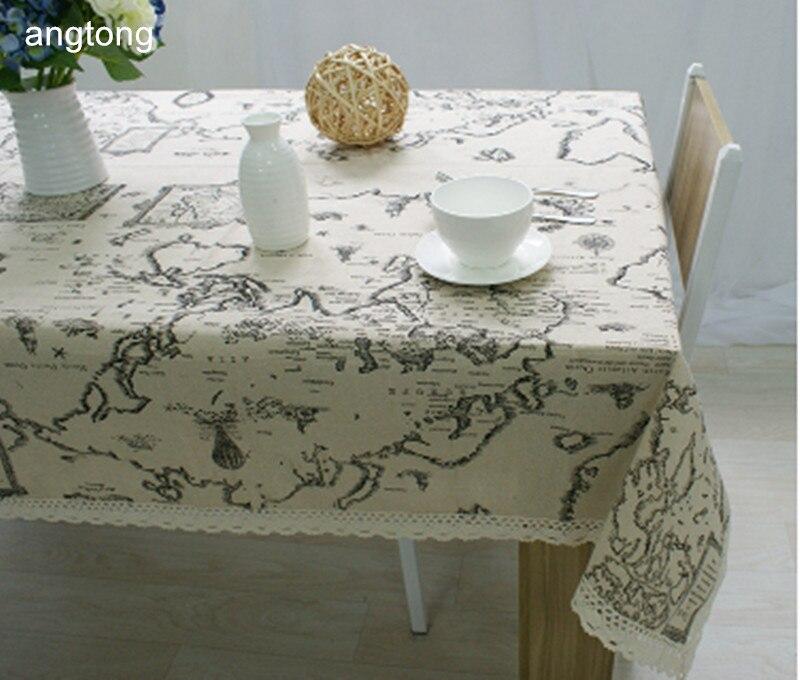 מפת עולם הדפסת כותנה פשתן אוכל שולחן בד רב תכליתי תה שולחן ספת כיסוי בד T285