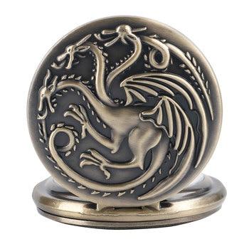 Retro Bronze Game of Thrones Theme Quartz Pocket Watch Family Crests House Targaryen Drogan Design Fob Watches Necklace Chain