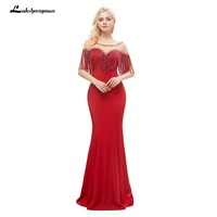 Red Mermaid Evening Dress Floor length With Jacket Illusion Mesh Red Women Formal Gown Robe De Soiree