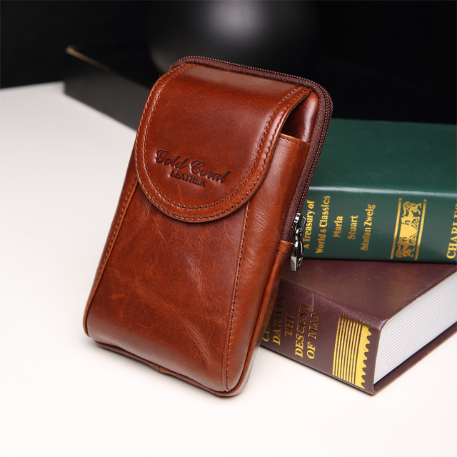 New style fashion high quality genuine leather men waist packs casual male  fanny bags cell phone package wallet 2015