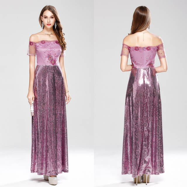 B0023 New Pink sequin embroidery Floor length A line Long Evening ...