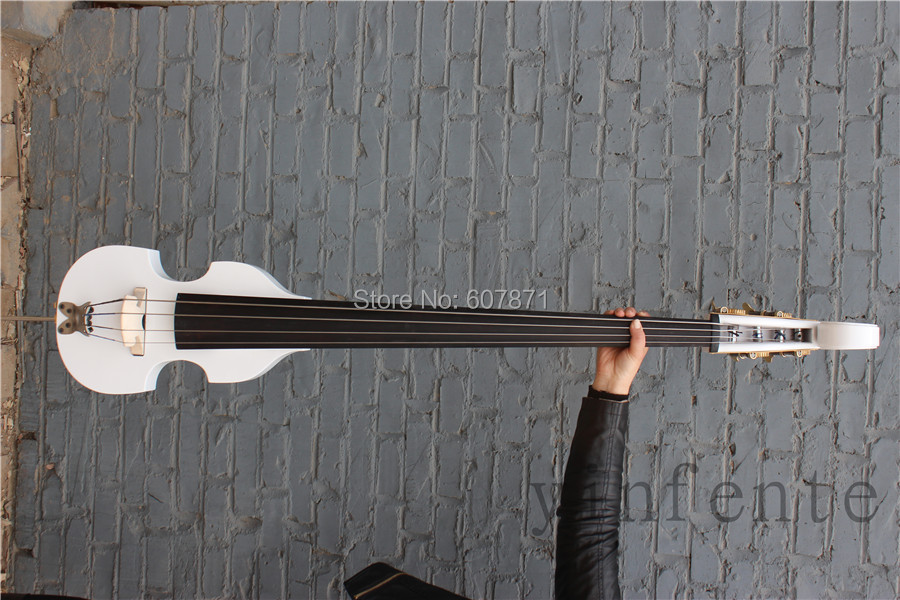 white 3/4 electric pucker double bass noblest great white 3 4 4 string electric double bass noblest great solid wood fine sound 9