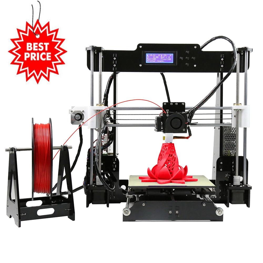 Anet A8 Cheapest Plus Size DIY 3d Printer Optional Auto Lever Stock in USA Czech Warehouse 22*22*24cm Build Volume Impressora 3d