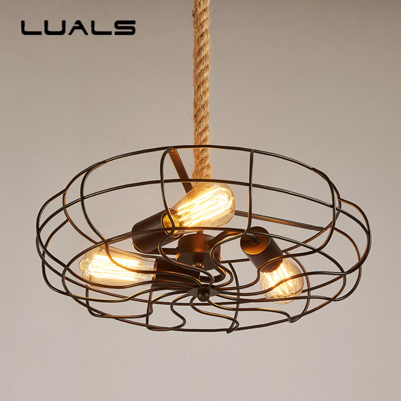 LUALS Loft style Pendant Lights Industrial Retro Pendant Lighting Creative Fan Shape Hanging Lamp For Bar Art Deco Edison Light 2 pcs loft retro light rusty color hanging lamp cafe bar pendant lights creative edison lamps industrial style pendant lighting