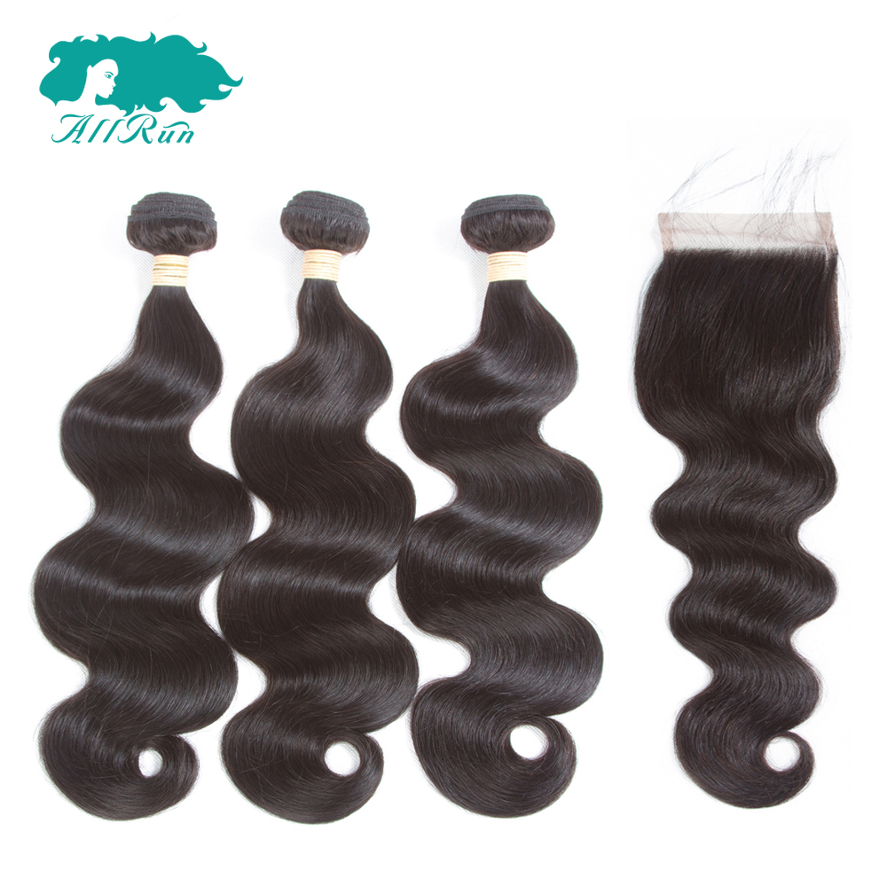 Allrun Pre-Colored Hair Indian Body Wave Bundles with 4*4 Lace Closure Shedding Free 100% Human Hair Non Remy Hair 2/3 Bundles
