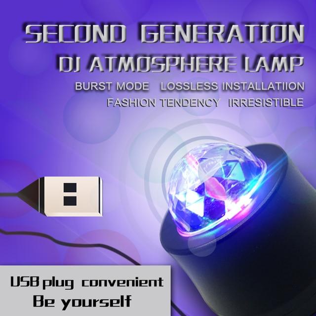 Car-styling USB Interior Light Atmosphere Lamp Crystal Magic Ball Music Control DJ Light 3 LED Bulbs KTV DJ Disco Laser Light 1