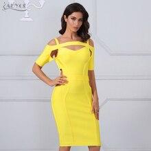 Adyce 2018 New Chic Women Bandage Dresses Sexy Yellow Cut Out Bodycon Mini Vestidos Celebrity Evening Party Dress Clubwear