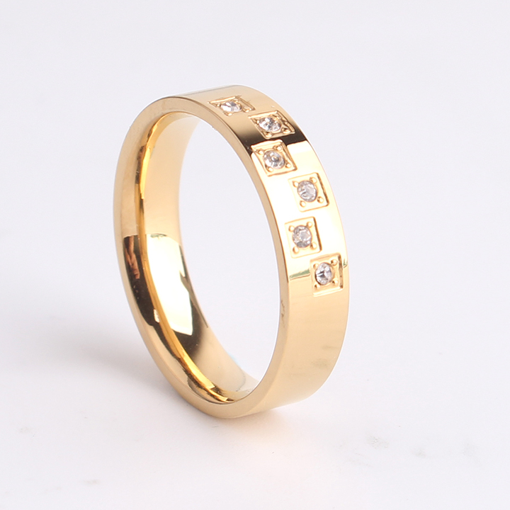 free shipping 6mm gold 6 zircon 316L Stainless Steel finger rings for women men wholesale