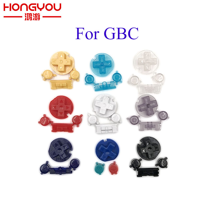 10Sets For GBC D Pads A B Buttons Plastic Power ON OFF Buttons Keypads for Gameboy Color GBC Colorful Buttons(China)