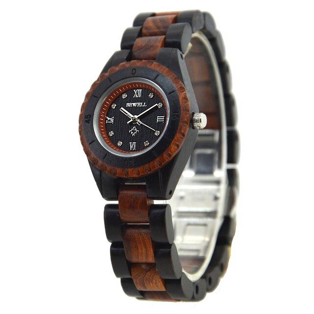 4b004eb58fd BEWELL Madeira 128AL Original Famosa Marca de Luxo Mulheres Relógios  Pequeno Dial Quartz Relógios Têm Cor