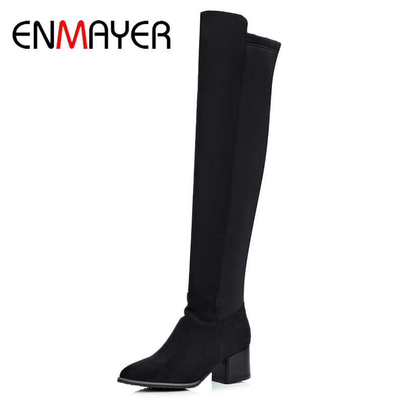 где купить  ENMAYER Woman Over The Knee Slip On Pointed Toe High Boots 2017 Winter Fashion Solid Square Heel Shoes Large Large Size 34-43  по лучшей цене