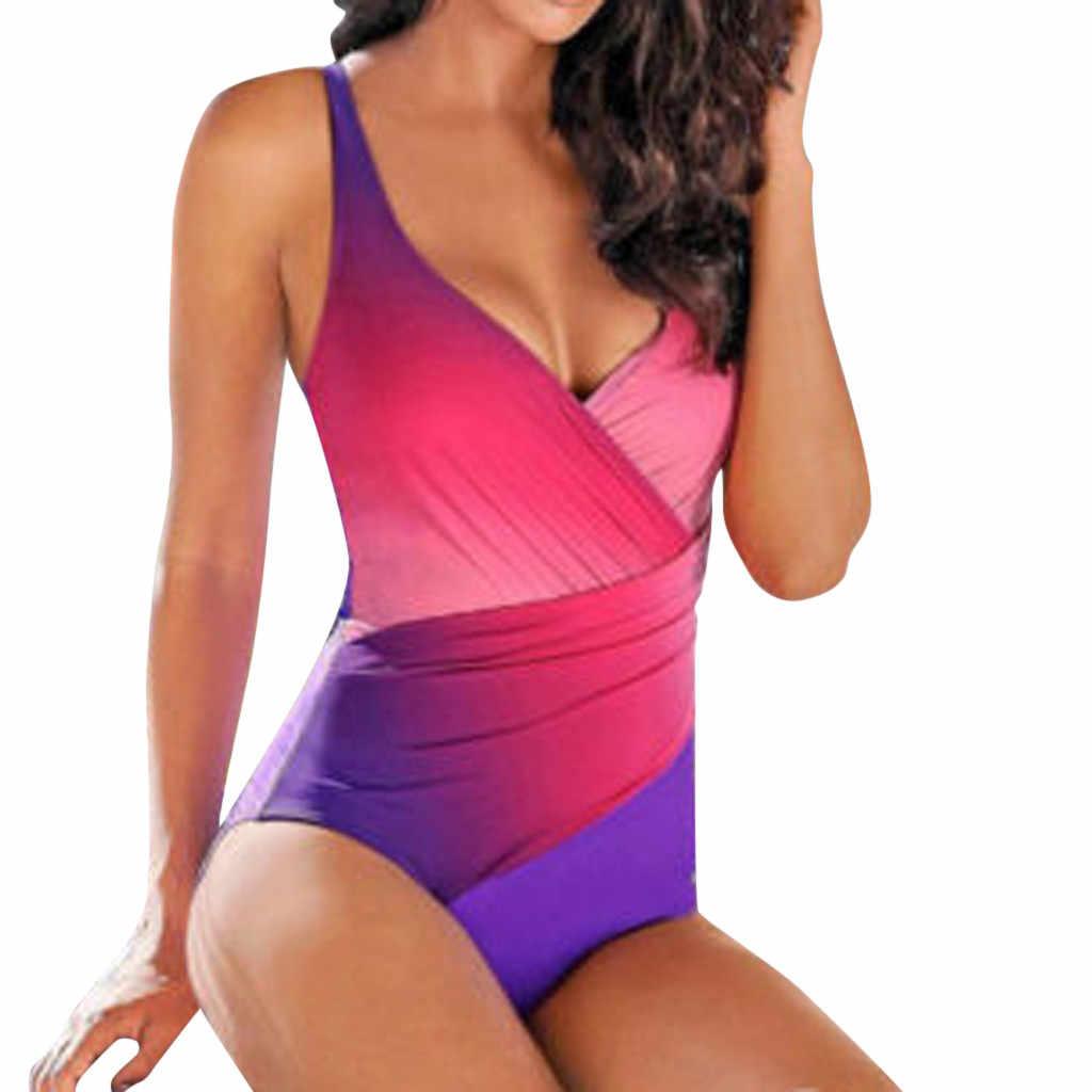 KANCOOLD ملابس حريمي مثير زائد حجم ملابس السباحة النساء التدرج اللون الرافعة عارية الذراعين قطعة واحدة الدعاوى دفع ما يصل الصيف الشاطئ ملابس السباحة