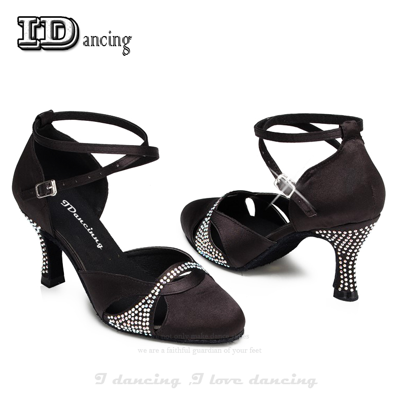 Women Dance Shoes Zapatos De Baile Latino Mujer Black Latin Dance Shoes With Diamond Blingbling High Quality JuseDanc