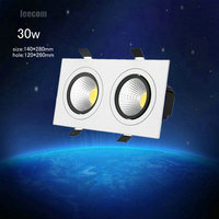 2018 Limited High Brightness 4pcs/lot 30w Double Head Square Led Downlight 2*15w Cob Recessed Ceiling Down Light Lamp For Home|LED Downlights|   -