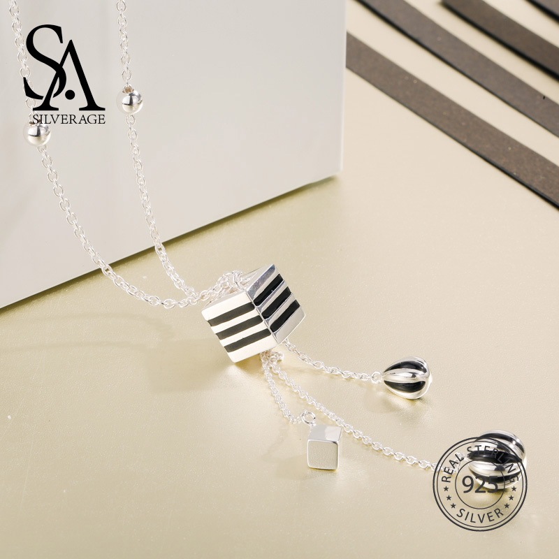 SA SILVERAGE 925 Sterling Silver Long Necklaces & Pendants For Women Fine Jewelry Sweater Chain Stripe Tassels 2018 New Design characteristic multi colored tassels design waved pattern body chain for women