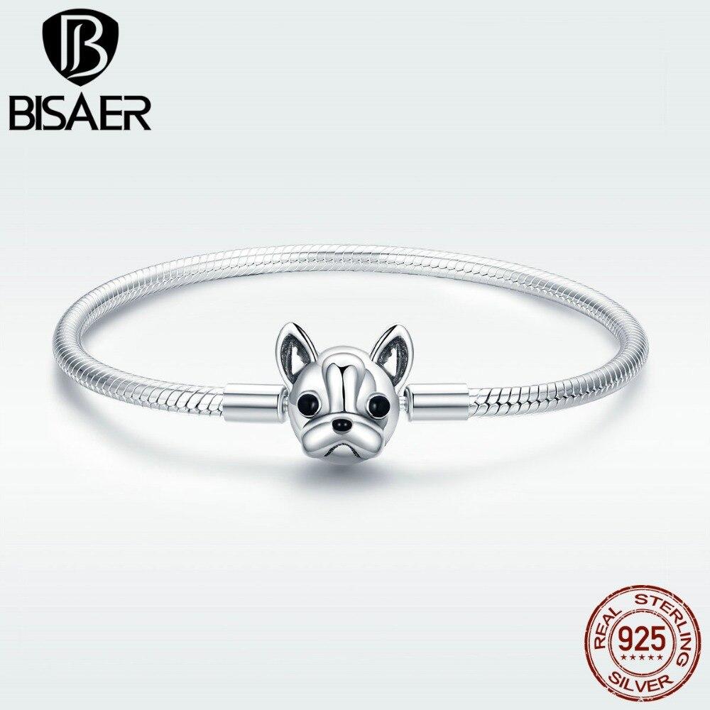 Bisaer Genuine 925 Sterling Silver Hot Sale Cute French Bulldog Silver Snake Bracelet For Original Brand Charm Bead Hsb075 2019 Official