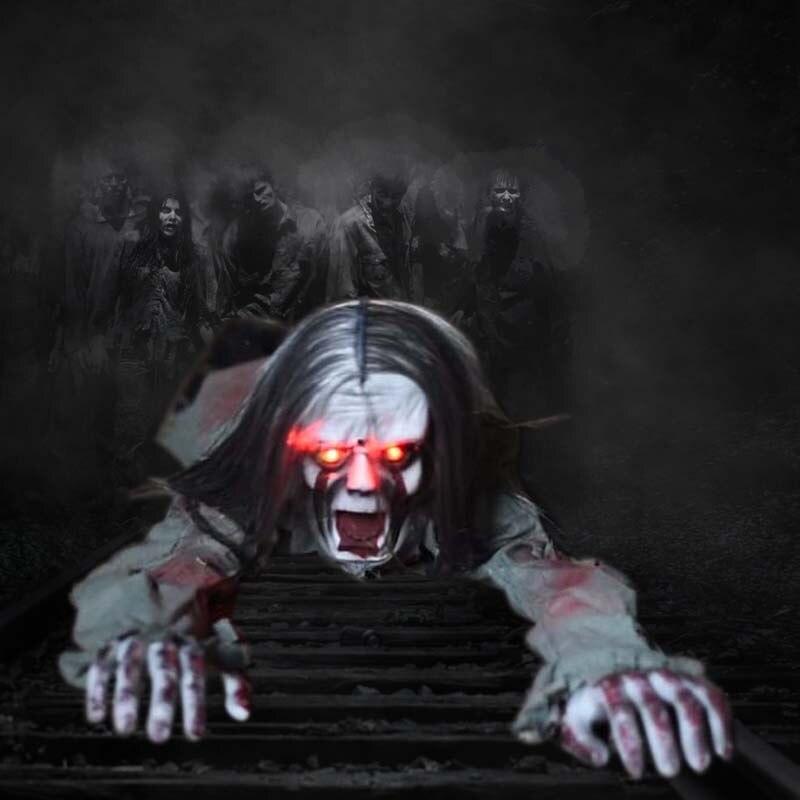 Horreur Ramper Fantôme Halloween Maison Hantée Décoration Accessoires Partie Mise En Page Commande Vocale Jouet Électrique Lueur Des Yeux Délicat Prop Bar