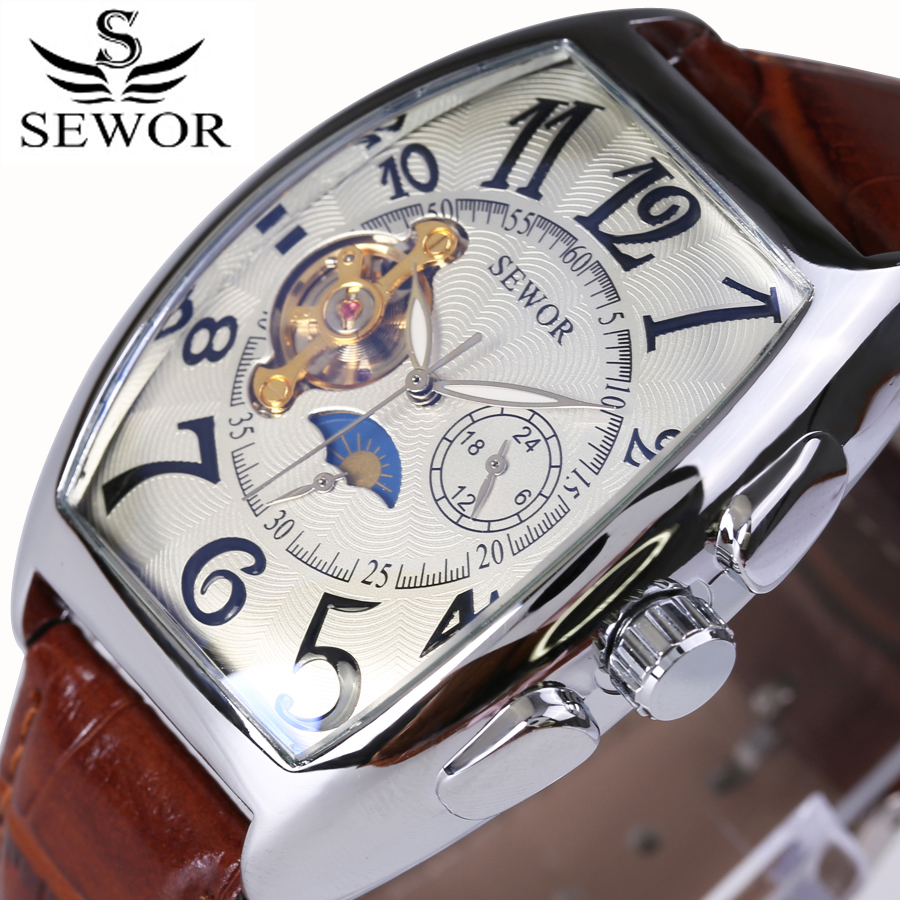Vintage Square Design Photochromic Glass Mechanical Tourbillon Mens Watches Top Brand Luxury Automatic Moon Phase Watch 2017
