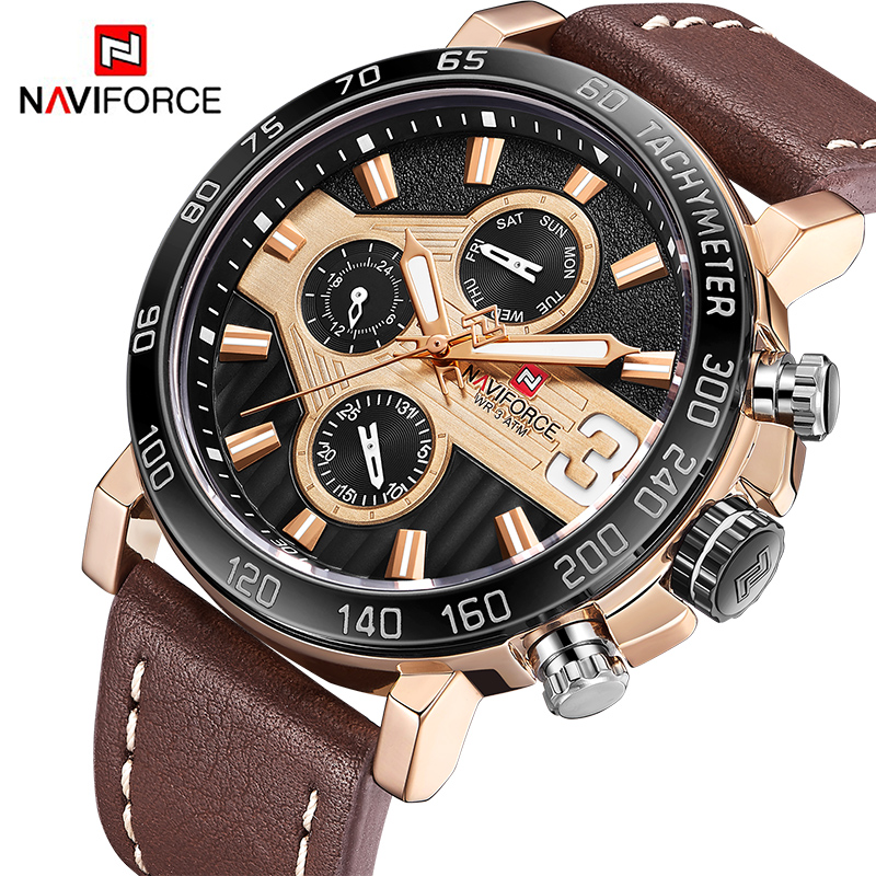 Top Luxury Brand NAVIFORCE Men Sports Watches Men's Leather Army Military waterproof Watch Man Quartz Clock Relogio Masculino mens watches top brand luxury sports watch men waterproof 100m tourbillon mechanical watch man clock relogio masculino army