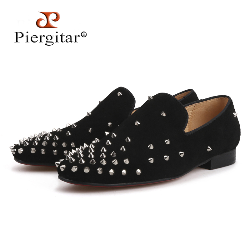reputable site f504b 0931d US $120.0 |Handmade men black Cow Suede shoes with silver spikes Fashion  brand CL same designs men loafers red bottom men's flats plus size-in Men's  ...