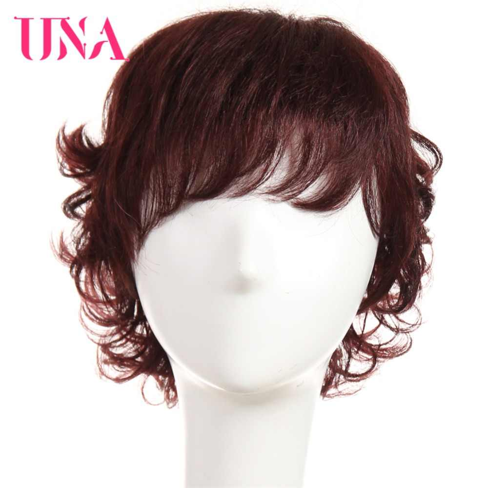 UNA Non-Remy Malaysian Human Hair Funmi Curly Wigs For Women 150% Density #1 #1B #2 #4 #27 #30 #33 #99J #BURG #350 #2/33
