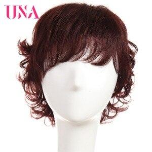 Image 1 - Женские вьющиеся парики UNA Non Remy, 150% плотность #1 # 1B #2 #4 #27 #30 #33 # 99J # mt #350 #2/33