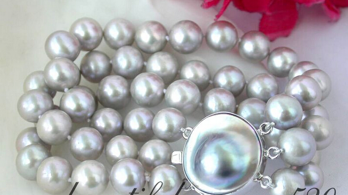 >Z2364 GREAT 3strands 8 11mm round gray freshwater pearl bracelet silve>Z2364 GREAT 3strands 8 11mm round gray freshwater pearl bracelet silve