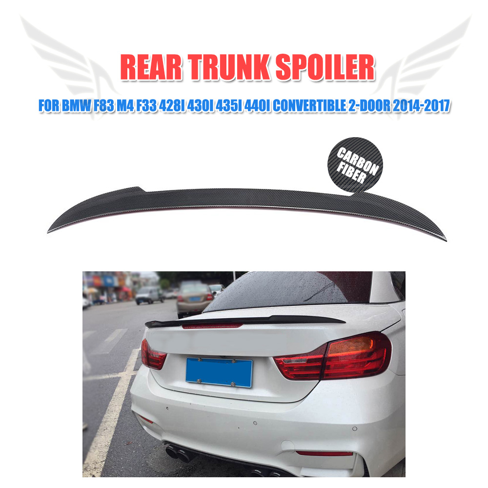 Carbon Fiber Rear Trunk Spoiler Wing Lip Sticker for BMW 4 Series F83 M4 F33 428i 430i 435i 440i Convertible 2-Door 2014-2017 tt modified tts style carbon fiber rear trunk lip spoiler car wing for audi tt 2008 2009 2010 2012 2013 2014