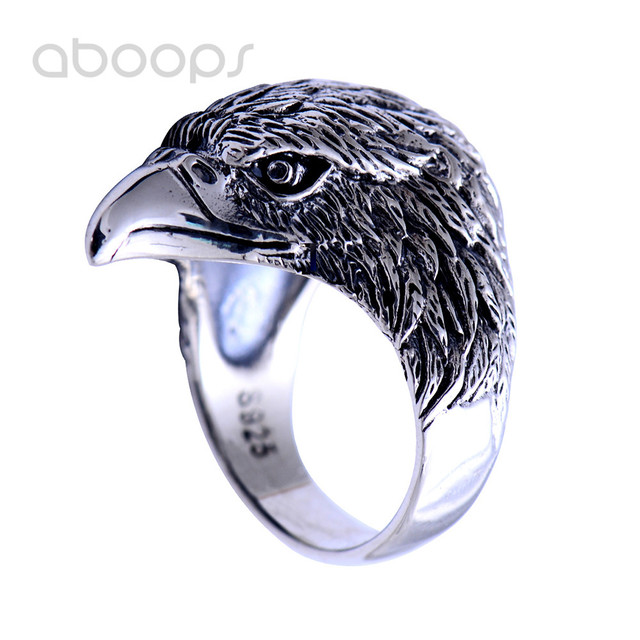Cool Vintage Black 925 Sterling Silver Eagle Head Ring Jewelry for Men Nice Gifts Size 8 9 10 10.5 Free Shipping