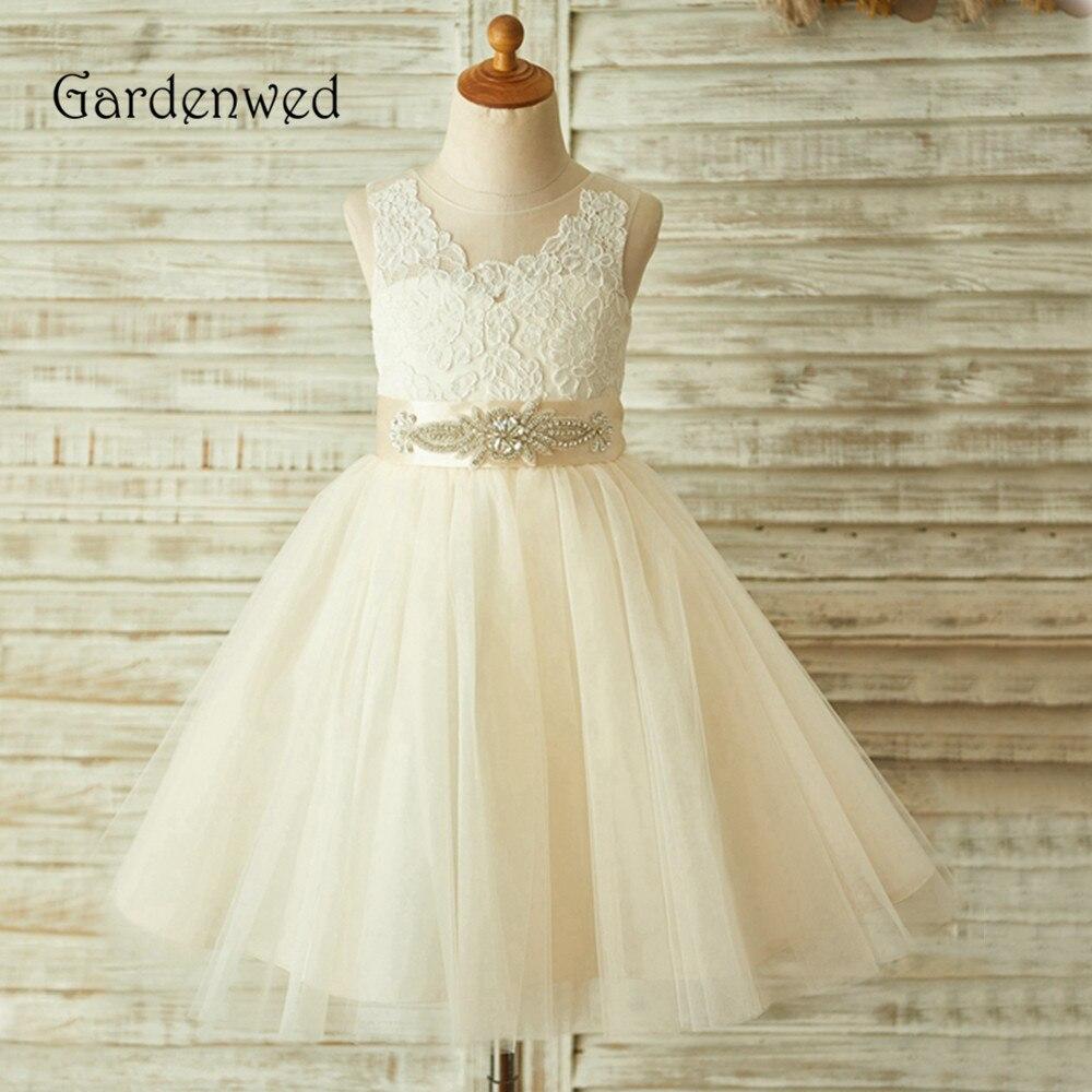 Gardenwed Delicate Lace   Flower     Girl     Dress   2019 Crystal Belt Puffy Skirt Champagne Little   Girl   Baby Tulle   Dress   Children Wedding