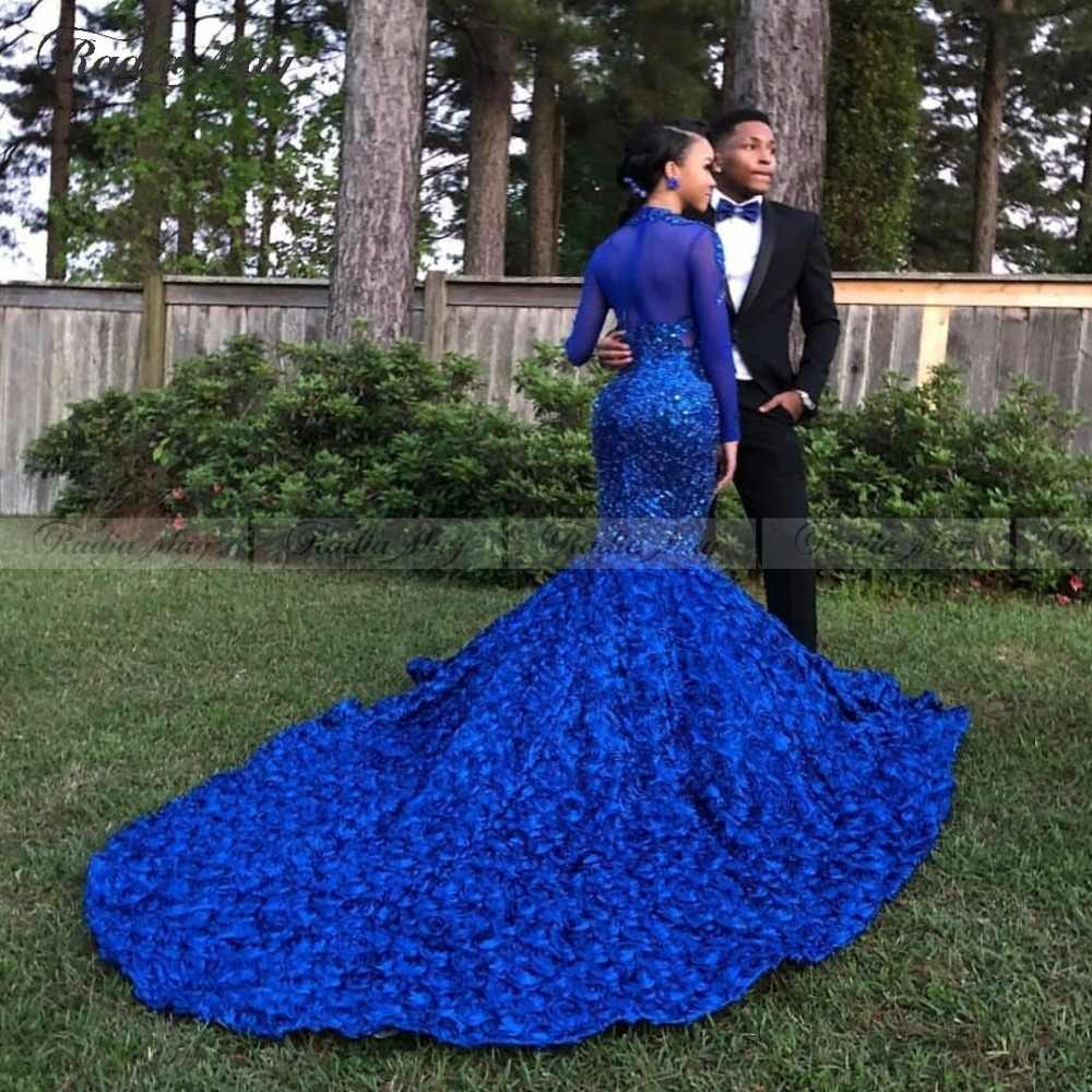 Royal Blue 3D Floral Mermaid Prom Dresses Black Girls High Neck Long  Sleeves African Plus Size Evening Formal Dress Court Train